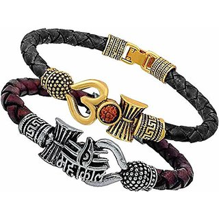 Aum Damroo Golden Black Belt and Mahakal Silvered Maroon Belt Bracelet Kada for Men and Boys (Pack of 2)