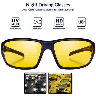 Yellow Black Night Vision Free Size Full Rim Wrap-around Non-Metal Unisex Sunglasses