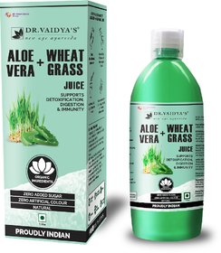 Dr. Vaidya's Aloevera and Wheatgrass Juice - Supports Detoxification Digestion  Immunity(1 LTR)-Vegetarian,Zero Added Sugar