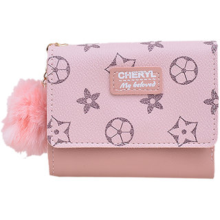 Mini Wallet  Card Holder  Small Stylish Ladies Two FOLD Wallet  Cash Holder with POM POM  Card Holder