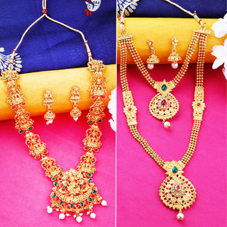 Gold Plated Traditional Designer Long Jewellery Set For Women