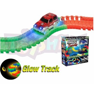 Miraculous Magic Glowing Race Track Bend Flex Flash In The Dark Assembly Car Toy Glow Racing Track Set Toys For Kid Gift