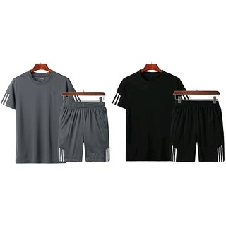 Ruggstar branded Active t-shirt with short pant combo(Combo Gray+Combo Black-M)