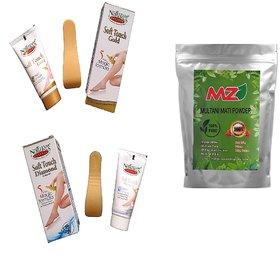 Natures Soft Touch Hair Removal Cream - 4pc And  MZ(Mahavir Zone)Multani Mati 100g
