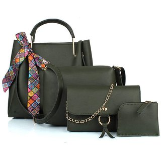 TMN Combo of Green Ribbon Handbag with sling bag and golden chain bag and Coin  Pouch-4ribn-green-tie