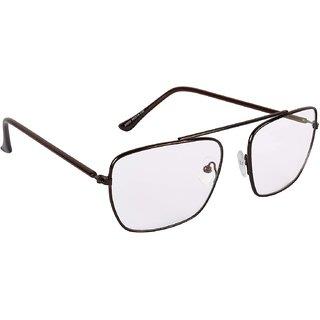 Debonair UV Protected Clear Full Rim Rectangular Unisex Sunglasses - (Clear Lens Brown Frame MediumSize)