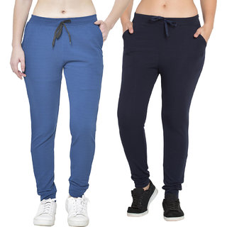 Cliths Track Pants For Women/Polyester Lower For Workout - Sea Blue And Navy (Pack Of 2)