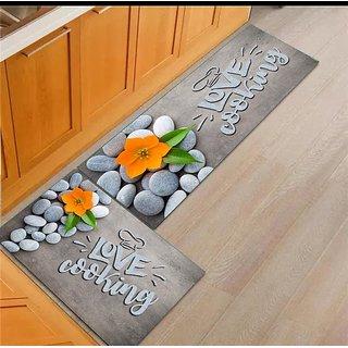 Choco Kitchen Mat Cum Door mat  with Long Runner Mat Pack of 2 Pcs