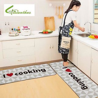 Choco Kitchen Mat Cum Door mat  with Long Runner Mat Pack of 2 Pcs