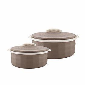 Trueware Regal Serving Casserole Set of 2 (1000+1500 ml)Grey Inner Stainless Steel