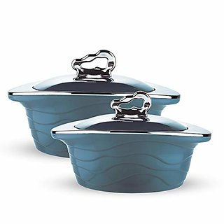 Trueware Zinna Serving Casserole Set of 2 (1000+1500 ml)Inner Stainless Steel Outer Plastic Body Plastic Lid - Blue