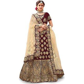 Femisha Creation Maroon Satin Heavy Work Women's Wedding Wear Semi Stitched Lehenga Choli(Free Size)