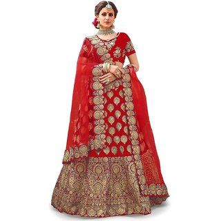 Femisha Creation Red Colored Embroidered Women's Solid Design Wedding Wear Semi Stitched Lehenga CholiFree Size