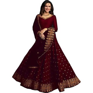Femisha Creation Maroon Satin Latest Designer Women's Wedding Wear semi Stitched Lehenga CholiFree Size.