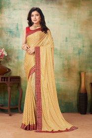 Sutram Lycra Beige Lace Bordered Saree with Blouse Piece