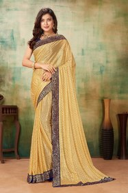 Sutram Lycra Beige Lace Bordered Saree with Blouse PieceST1046