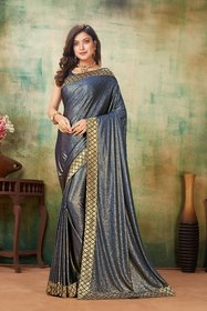 Sutram Lycra Blue Lace Bordered Saree with Blouse Piece