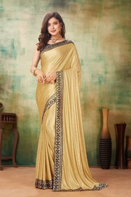 Sutram Lycra Beige Lace Bordered Saree with Blouse PieceST1048
