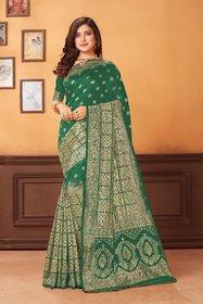 Sutram Jacquard Dark Green Woven Saree with Blouse Piece