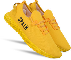 Spain Yellow printed casual sports shoes for men's
