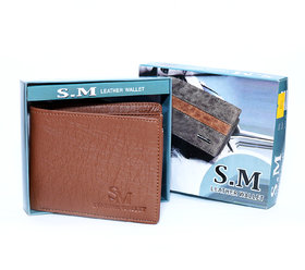 Men Casual Brown Stylish LEATHER WALLET  With 6 card slots / light weight-(003)