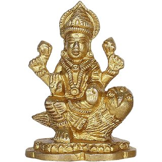 Brijcraft Brass Idol for Puja Room Decoration Owl Laxmi Murti Hindu Goddess Religious Gifts
