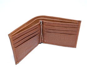 Men Casual Brown Leather wallet with holding pin With 6 card slots / light weight-(171)