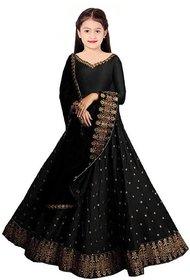 F Plus Fashion Black Taffeta Satin Kids Girls Latest Design Party Wear Semi Stitched Lehenga Choli.