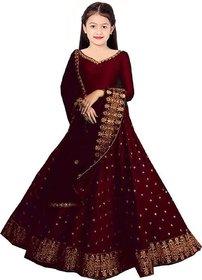 F Plus Fashion Maroon Satin Designer Girls Wedding Wear Semi Stitched Lehenga Choli(Comfortable To 3-15 Years Girls)