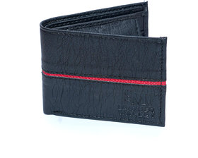 Men Premium Black Leather wallet with red designed strip/3 card slots /coin pocket light weight-(117)