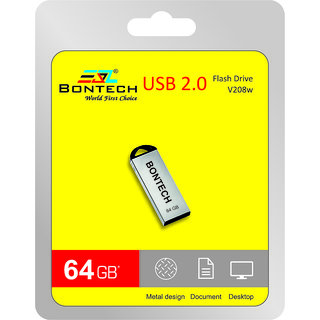 Bontech 64GB Pendrive High Speed R/W with Durable Rugged Metal Body - USB 2.0 Pen Drives