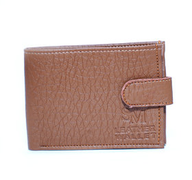 Men stylish Brown Leather wallet With 3 card slots /coin pocket light weight-(676)