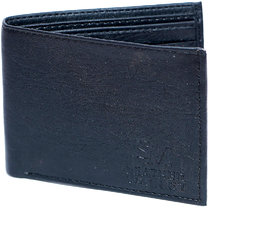 Men Casual Black Stylish LEATHER WALLET With 6 card slots/ one hidden pocket / light weight-(112)