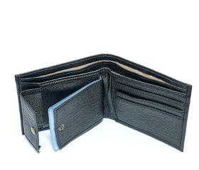 Men Premium Black Leather wallet with unique designed/3 card slots /hidden pocket light weight-(803)