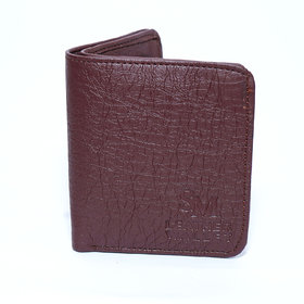 Men Casual New unique Brown Round edges design Leather wallet with 3 card slots/one coin pocket / light weight-(151)
