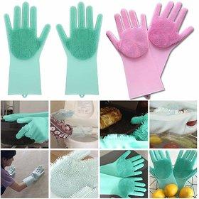 Smart matto Silicone Dish Washing Gloves, Silicon Cleaning Gloves, Silicon Hand Gloves for Kitchen