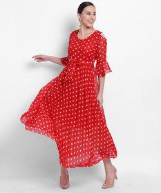 Shivalaya RWD-AB2 Red Polka Dot V-Neck Dress With Waist Knotes