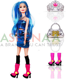 Aseenaa Beautiful Doll Toy Set with Movable Joints and Other Ornaments for Girls  Height  30 cm  Colour  Blue