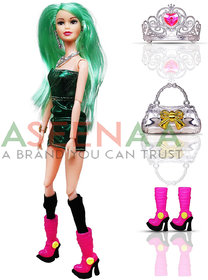 Aseenaa Beautiful Doll Toy Set with Movable Joints and Other Ornaments for Girls  Height  30 cm  Colour  Green
