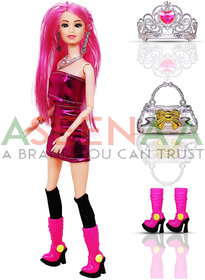 Aseenaa Beautiful Doll Toy Set with Movable Joints and Other Ornaments for Girls  Height  30 cm  Colour  Pink