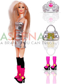 Aseenaa Beautiful Doll Toy Set with Movable Joints and Other Ornaments for Girls  Height  30 cm  Colour  Silver