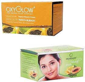 Oxyglow Insta Glow Papaya Bleach (200 gm) (Pcs 1 )+Oxyglow Herbal Bleach (200 gm) (Pcs 1 )
