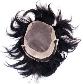 Elegant Hairs Fine Monofilament Human Hair System - Men Hair Wigs Hair Toupee (Patch) For Men/ Hair Patch To Cover Baldness Attach System Yourself (10X7inches, Black)