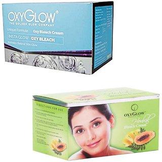 Oxyglow Insta Glow Oxy Bleach (200 gm) (Pcs 1 )+Oxyglow Herbal Bleach (200 gm) (Pcs 1 )