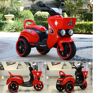 Baby Battery Operated Rechargeable Electric Ride On Bike Scooter Withmp3 Music System Front BasketHeadlight For Kids