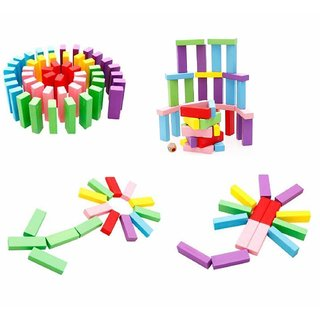 Zenga Wooden Blocks 54 Pcs Challenging Color Wooden Tumbling TowerDices Board Educational Puzzle Game  for  Kids