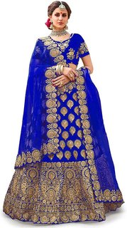 F Plus Fashion Royal Latest Designer Embroidered Women's Wedding Wear Semi Stitched Lehenga Choli(Free Size)