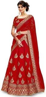 F Plus Fashion Red Embroidered Women's latest Designer Wedding Wear Semi stitched Lehenga Choli(Free Size)