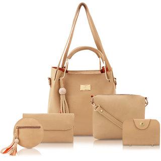 Threadstone Set Of 5 PU Handbag( bag,Sling, Card Wallet, clutch Wallet, Coin Pouch) For Women Beige