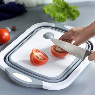 ARAVI Cutting Chopping Board/Washing Bowl,Fruit Vegetable Basket (Multipurpose)(Random Color) (3 in 1 Chopping Board)